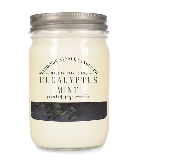 12 oz Jelly Jar Soy Candle with Lid by Maddison Avenue Candle Company