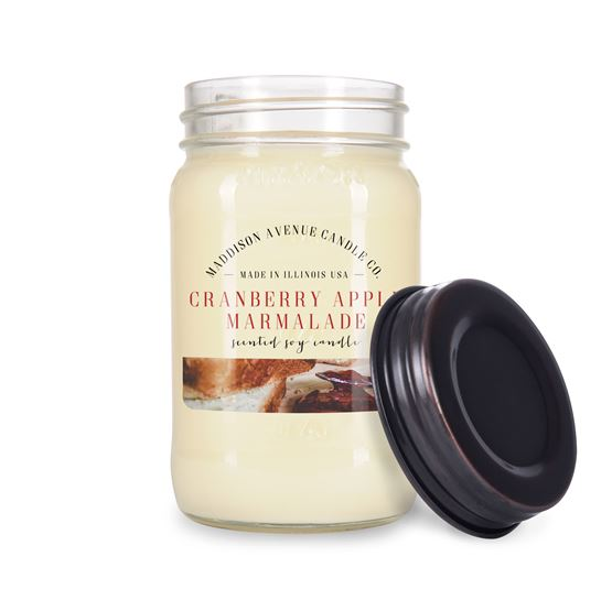 16 oz Mason Jar Soy Candle with Lid by Maddison Avenue Candle Company