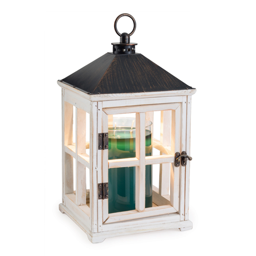 Wooden Candle Lantern - White by Maddison Avenue Candle Company